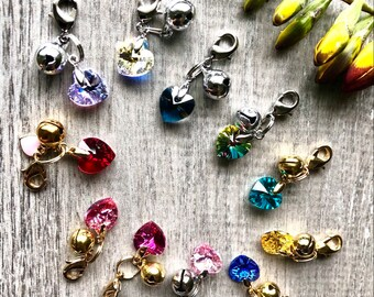 Add On Bell - Genuine Swarovski Crystal Heart add on Bell - Available in 12 different colors - Pet Friendly Bell For Any Occasion