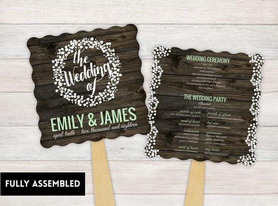 wedding fan wedding program fans ceremony program fans etsy