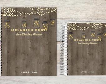 Custom Wedding Planner, Keepsake Planner, Wedding Planning Guide, Wedding Planner Book, Bride to be Present, Engagement Gift, Rustic Lights