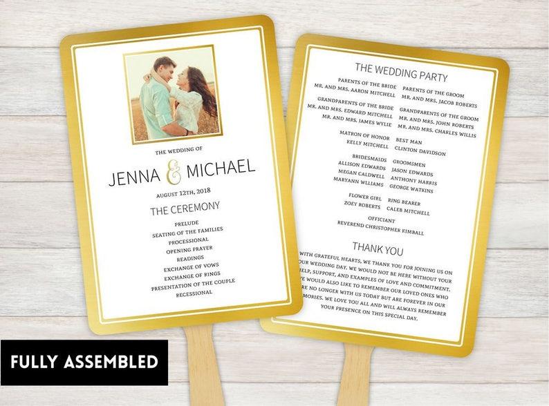 Wedding Fan, Wedding Program, Fans, Ceremony Program Fans, Wedding Keepsake  Fans, wedding Fan, Custom Wedding Fans, gold photo