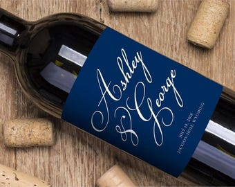 Wine Labels, custom wine labels, custom labels, custom celebration labels, wine, wine label, personalized wine labels, Elegant Navy