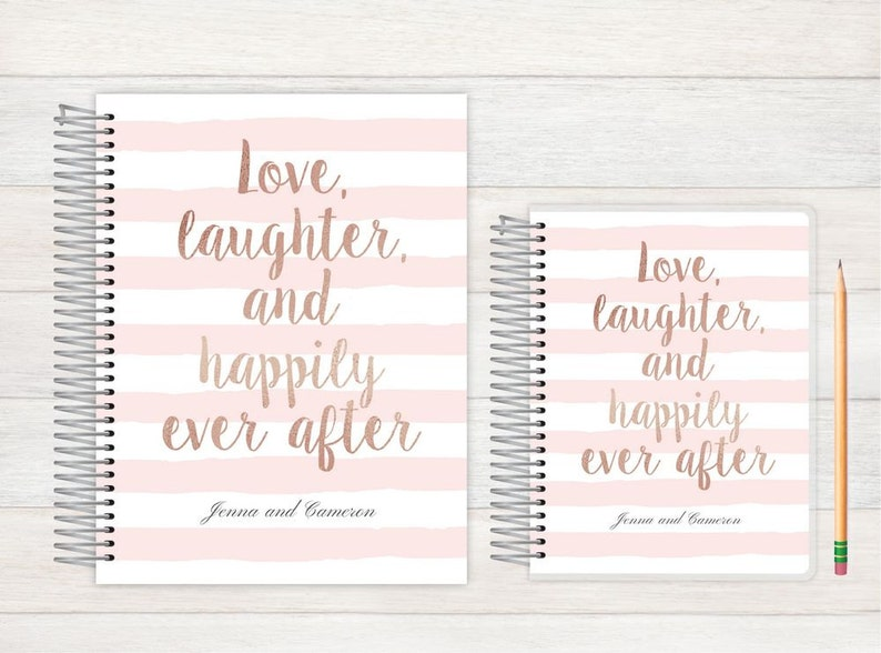 Personalized Bridal journal love laughter ever after custom Wedding journal Wedding notebook Personalized journal Wedding Journal