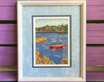 Absolutely Beautiful Detail & Talent with NeedlePoint   Sailboat on the River Lake   Framed and Matted   MATCHING Series Set Available!