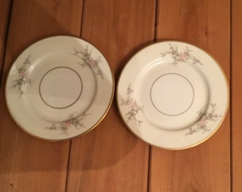 Royal Jackson Fine China Vogue Ceramic Industries / Set of 2 Plates / Small Vintage Plates from 1940s / Replacement Dishes Desert or Salad