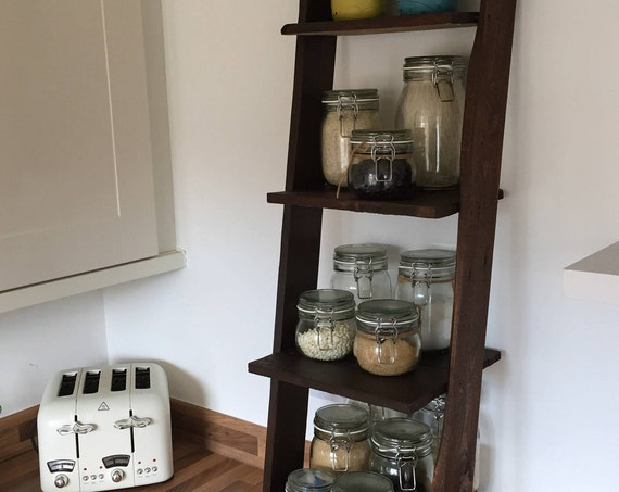 Ladder shelf: 4 shelves Distressed in White, Black, Barnwood, Walnut, or Pallet Wood Farmhouse