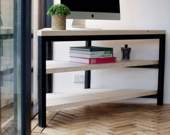 Corner TV Stand  // Home Office Furniture -- Natural Scaffold