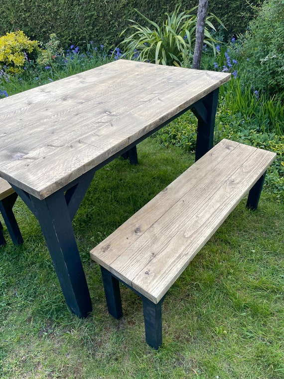Industrial Table and Benches, Scaffold Table Black Legs