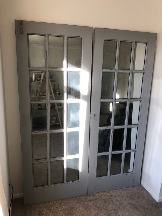 Large Mirror Wall made from French Doors Grey