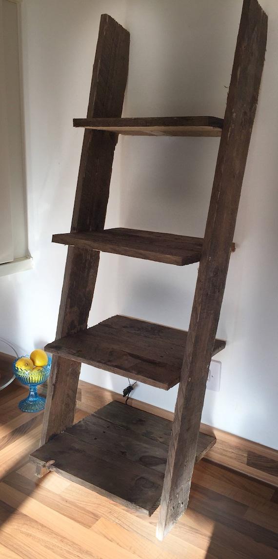 Ladder Shelf Rustic Small Mini: 4 shelves Dark Pallet Wood Farmhouse