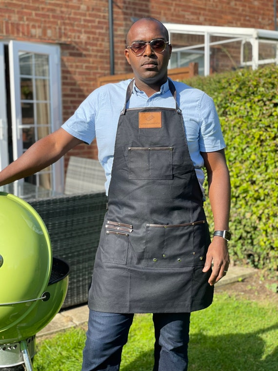 Canvas Apron with leather strap