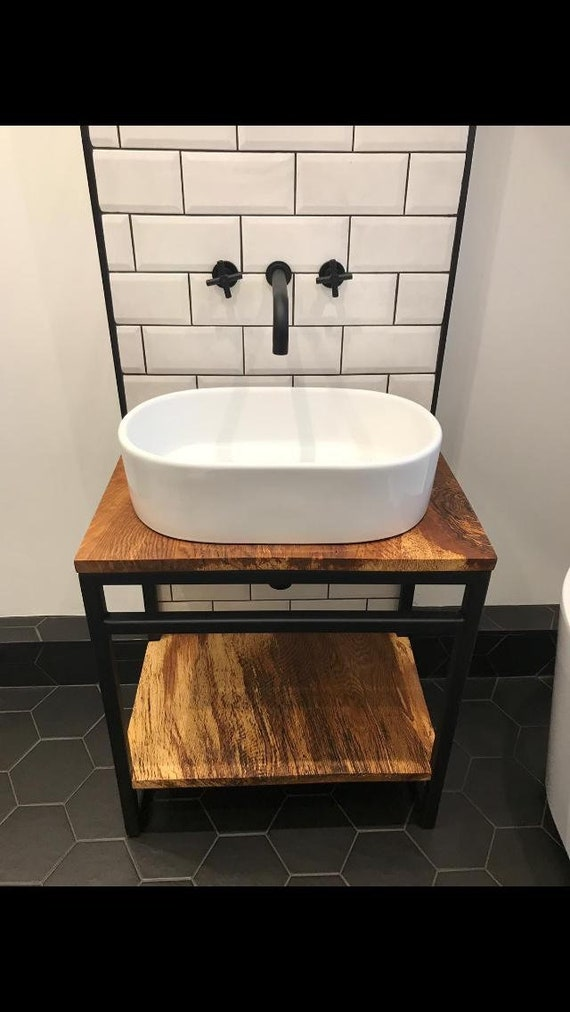 Rustic Sink Unit with Oak or Scaffold Shelves