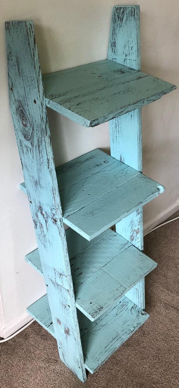 Ladder Shelf Small Mini: 4 shelves Pallet Wood Farmhouse