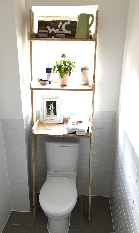 Over the Toilet Storage Ladder Shelf made from Reclaimed Pallet Wood