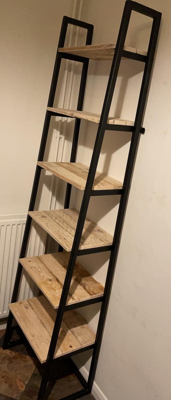 Ladder Shelf Shoe Rack 6 Shelves Bookcase, made from Reclaimed Pallet Wood Metal