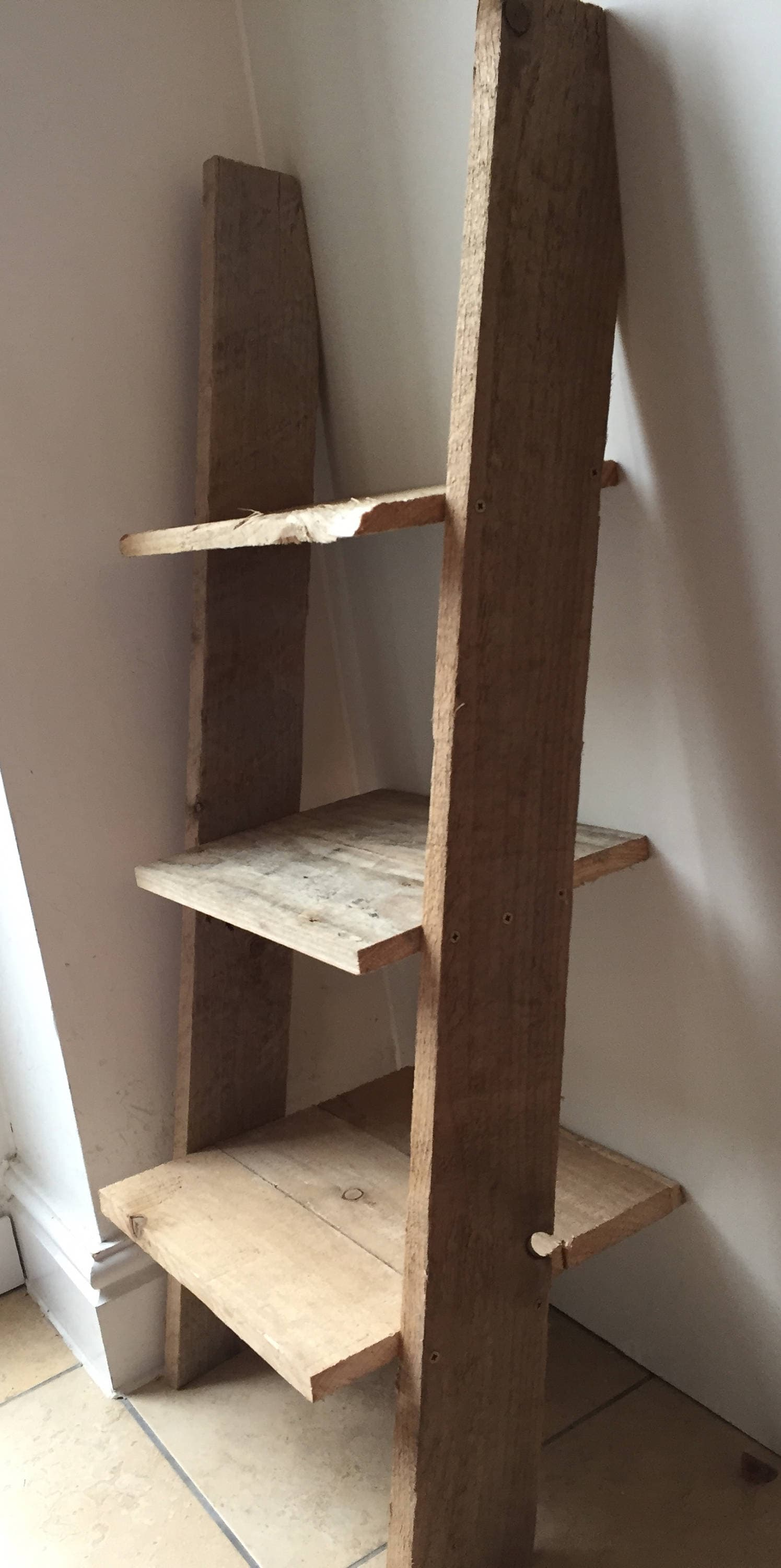 Ladder Bookcase Small Rustic Shelf Bedside Table 3