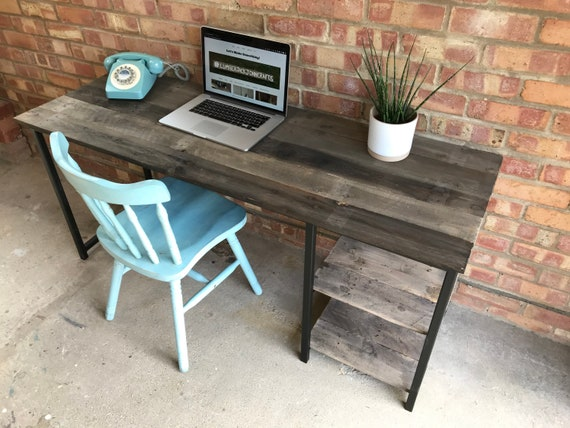 Home Office Desk with Brown Reclaimed Pallet Boards