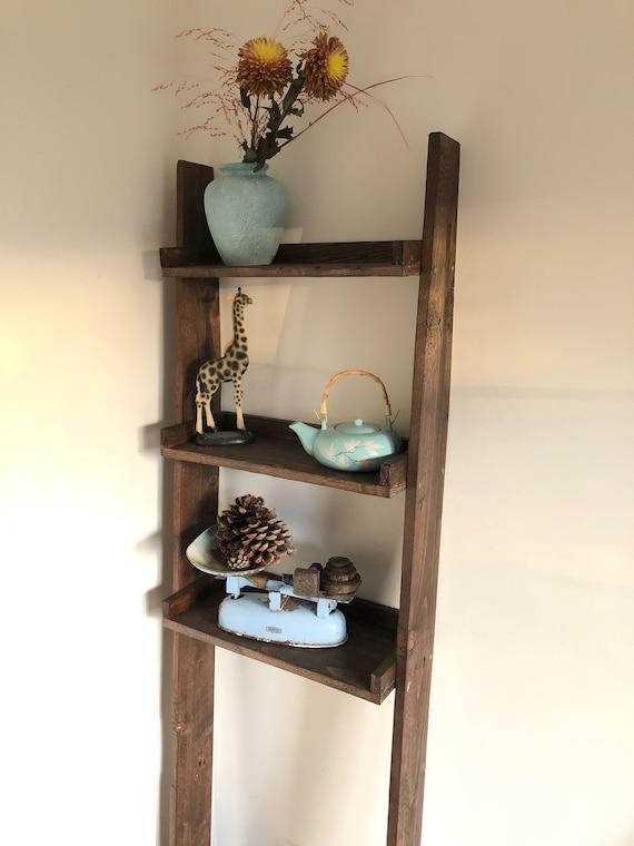 Walnut Ladder Shelf Bathroom, 3 Shelves
