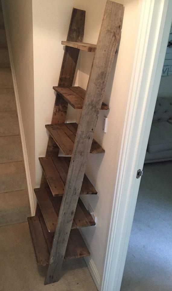 Ladder Shelf Shoe Rack 6 Shelves Bookcase, made from Reclaimed Pallet Wood with Barnwood finish