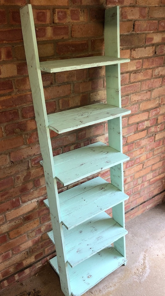 Ladder Shelf Shoe Rack 6 Shelves Bookcase, made from Reclaimed Pallet Wood