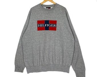 1144ded6e3f Vintage Bootleg Tommy Hilfiger Sweater Big Logo Gray Colour XL Size Sweater  Jacket Shirt Jumper Pullover Vintage 90 s Streetwear