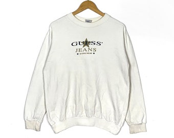 8017880e9e15 Guess Women's Sweatshirt Large Size White Colour Made In Usa Sweater  Pullover Jumper Crewneck Hip Hop Vintage 90s Asap Rocky Streetwear