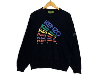 dd924743 Vintage Kenzo Paris Sweatshirt Black Colour Big Logo Medium Size Jumper  Pullover Sweater Vintage 90's Clothing Streetwear Casual