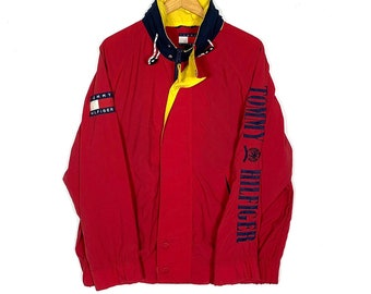 cfadee2b0 Vintage 90's Tommy Hilfiger Sailing Gear Jacket Embroidery Logo Medium Asap  Rocky Rain Jacket Windbreaker Pockets Streetwear