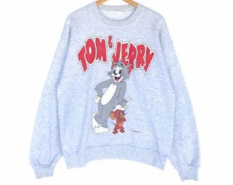 bfcd552b4f14 Vintage 90s Tom   Jerry Sweatshirt Big Logo Heather Grey Colour Large Size  Jumper Pullover Sweater Crewneck Vintage Cartoon 90 s