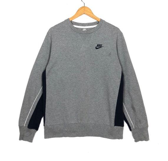 pretty nice 2db9d 6b020 Nike Swoosh Sweatshirt Small Logo Swoosh Grey Blue Colour Large Size Sweat  Nike Sweater Hoodie Jumper Pullover Hip Hop Vintage 90's