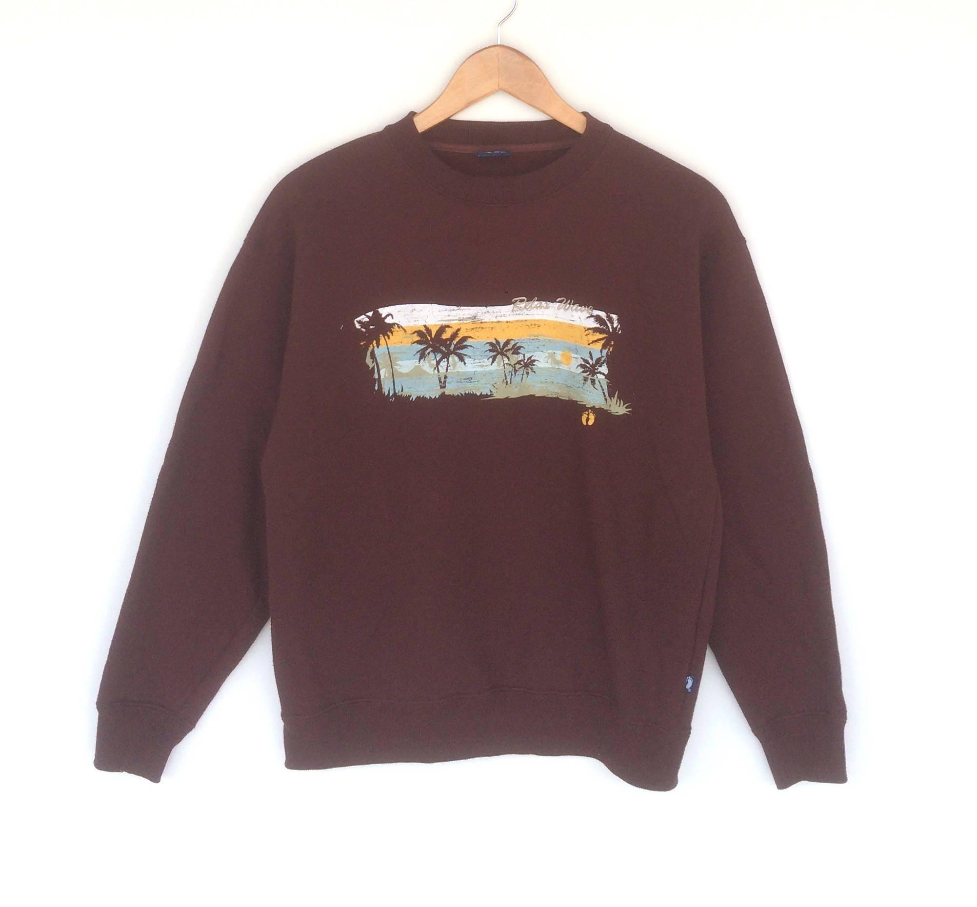 Accrocher surf les dix Sweatshirt surf Accrocher taille moyenne couleur marron pull pull veste pull Sweat à capuche Vintage des années 90 Sweat-shirt 5ce2db
