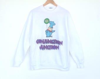 Vintage 90's Conjuction Junction Schoolhouse Rock Sweatshirt Big Logo Jumper Medium Size Pullover Sweater Jacket Shirt xVWqD9okZ