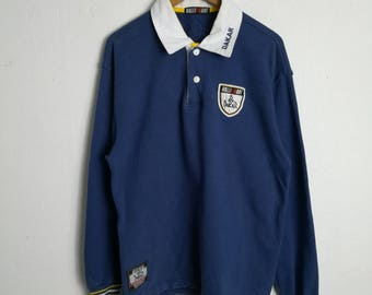 Vintage 90's Ralli Art Blue Polos Medium Size Sweatshirt Sweater Shirt Jacket