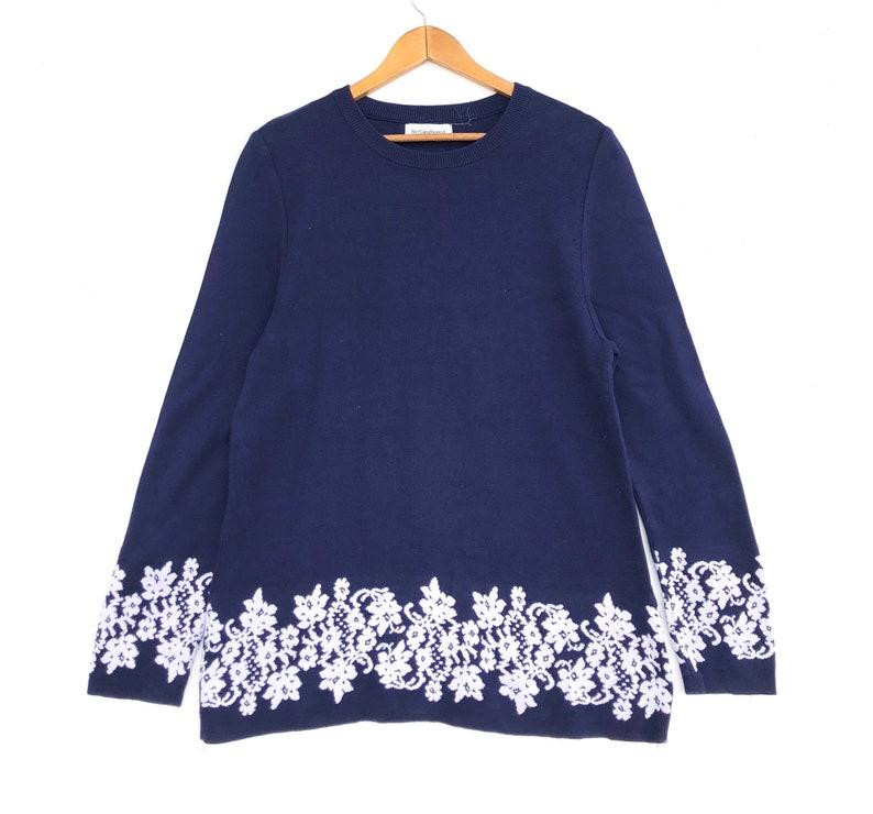 916727ca Yves Saint Laurent Sweatshirt Blue Colour Flowers Logo Medium Size Women's  Jumper Jacket Shirt YSL Hoodie Sweat Sweater Vintage 90s 80s