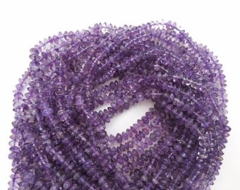 "5 Strand Natural Amethyst Smooth Button Rondelle Gemstone Beads Full 13""Inch 4-5mm, Purple Amethyst Smooth Button Beads Smooth Rondelle"