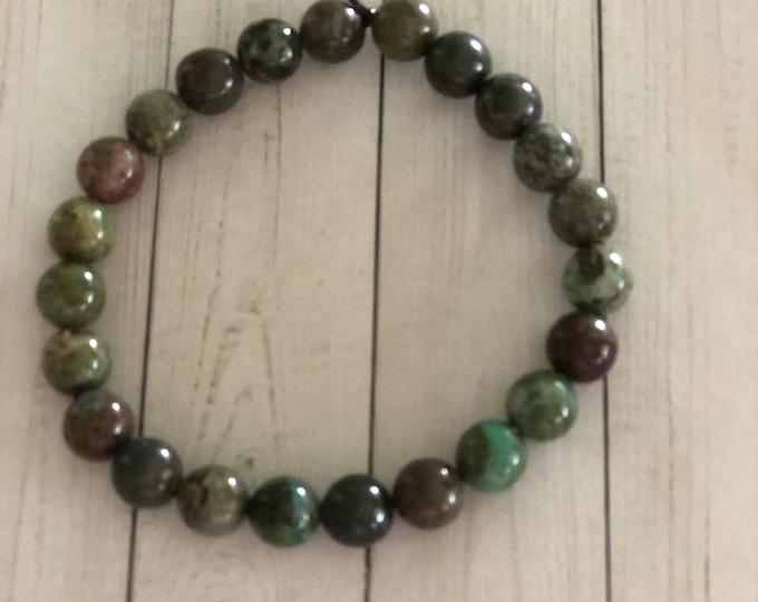 Ladies Green Cuprite Beaded Bracelet