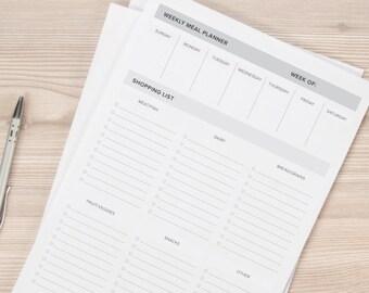 Printable Meal Planner / printable planner, meal planner printable, planner inserts, planner printable, binder insert, meal planning