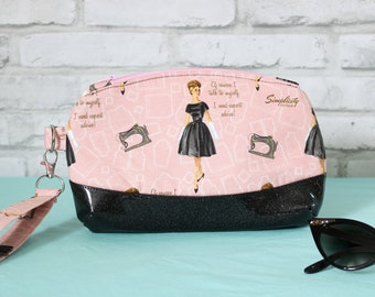 Vintage lady clutch, sewing lover small purse, retro wristlet bag