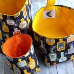 Halloween potions and spells fabric bin, spiderwebs small storage basket, nostalgia Halloween decor, gothic decor