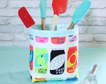 Soda pop art fabric storage bin, cola cans home decor basket