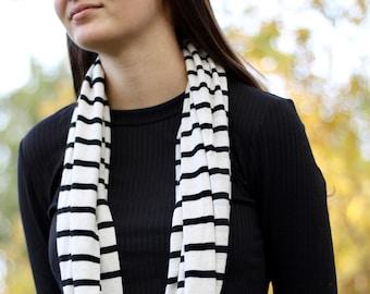 Stripe loop scarf, black and cream handmade infinity loop scarf