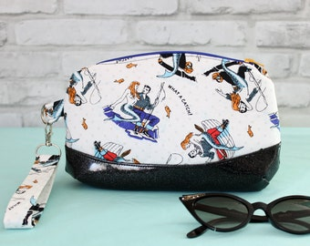Mermaid wristlet clutch bag, fisherman wife purse, small fishing boat wristlet handbag