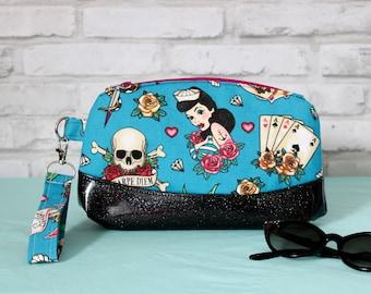 Sailor girl wrist bag, rockabilly clutch purse, pinup girl handbag, flash art tattoo, carpe diem bag