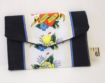 Business card holder, card case wallet, calling card holder, Ed Hardy fabric,  gift for him, tattoo lover gift, tattoo business card wallet ae0e347d34