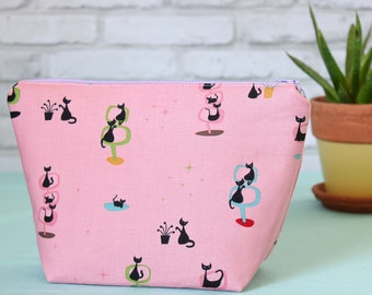 Cat print zipper pouch, 1950s and 1960s atomic cat lover gift, retro cat fabric bag