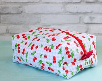 Cherry box bag, makeup bag, large zipper pouch