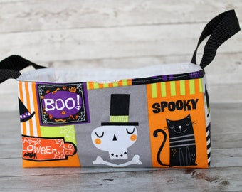 Halloween fabric storage basket, home decor bin for kids, spooky cute Halloween home with skeletons, pumpkins, witches and black cats