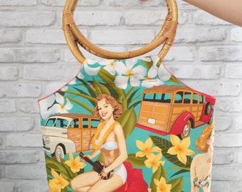 Rockabilly pinup handbag with bamboo handles, retro Hawaiian tiki purse, 50s rockabilly bag