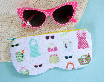 Cat eye sunglasses and swimsuits case, retro vintage style eyeglass zipper pouch
