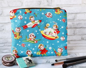 Large makeup bag kitschy kids, atomic retro rocket zipper pouch, starbursts and space, retro moon space cosmetic bag, gift for her under 30