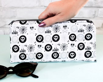 Spiderweb and skull fabric zipper bag, spooky gothic pouch, creepy cute bag, Hallolween horror
